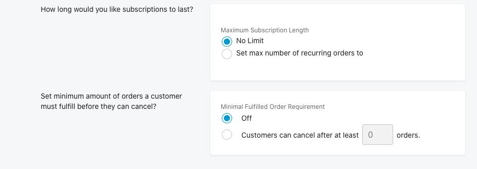 期間とキャンセルオプションを設定する