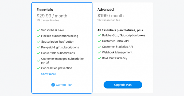 Bold Subscription Plans