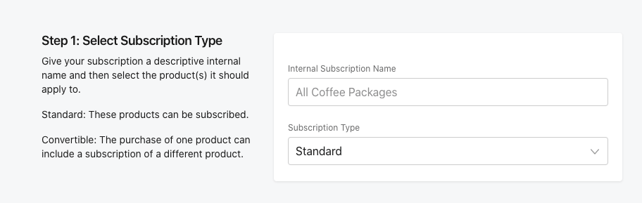 Select Subscription Type