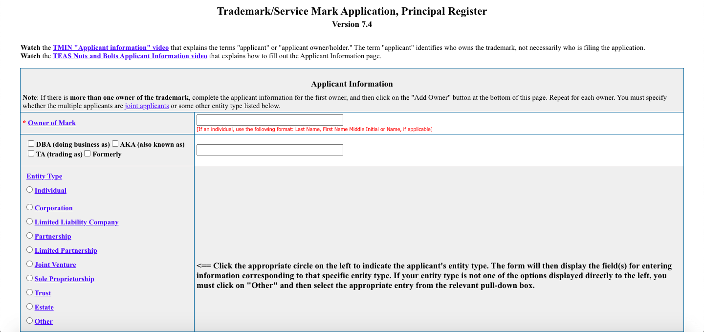 Trademark Registration Applicant Information