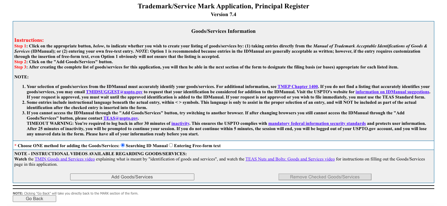 Trademark Registration Goods & Services Information