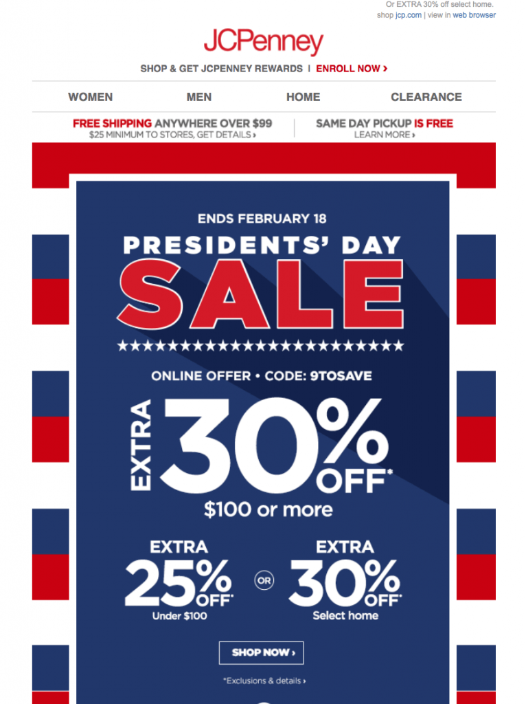 President's Day Ad Example 1